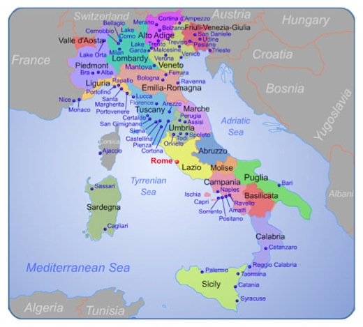Map Of Southern Italy Regions.Maps